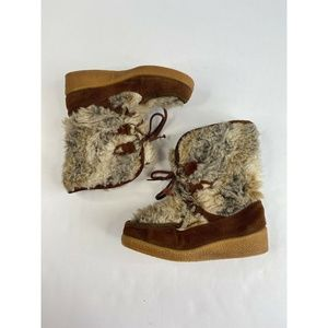 Quoddy vintage fur moccasins leather suede boots